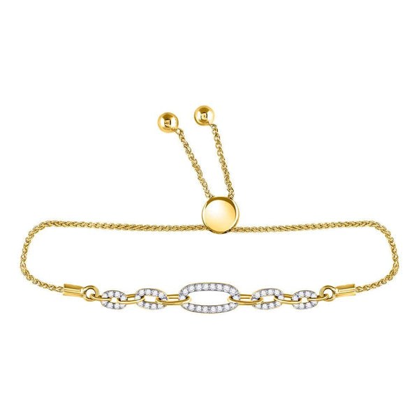 10kt Yellow Gold Womens Round Diamond Oval Link Bolo Bracelet 1/3 Cttw