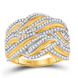 10kt Yellow Gold Womens Round Diamond Woven Strand Band Ring 1/2 Cttw