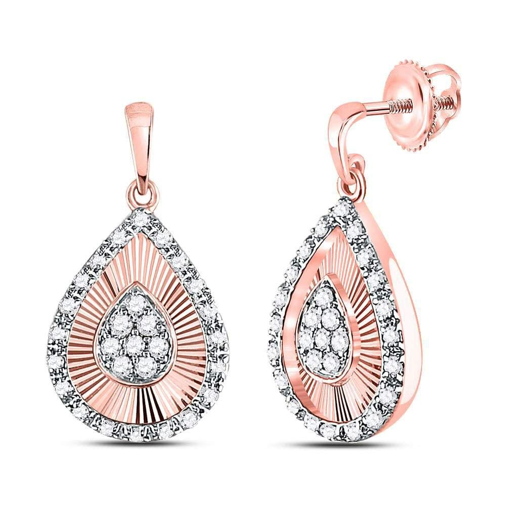 10kt Rose Gold Womens Round Diamond Teardrop Dangle Earrings 1/3 Cttw