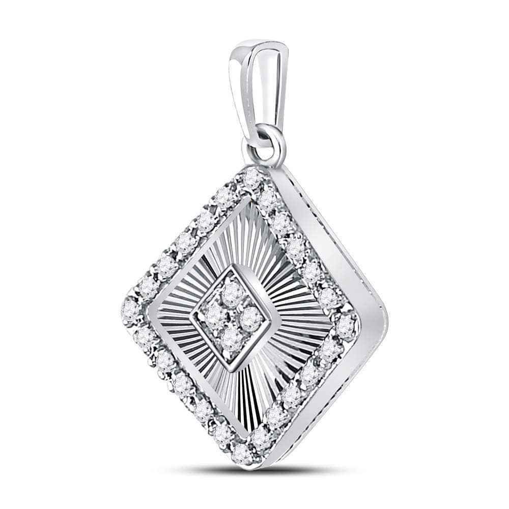 10kt White Gold Womens Round Diamond Diagonal Square Pendant 1/6 Cttw