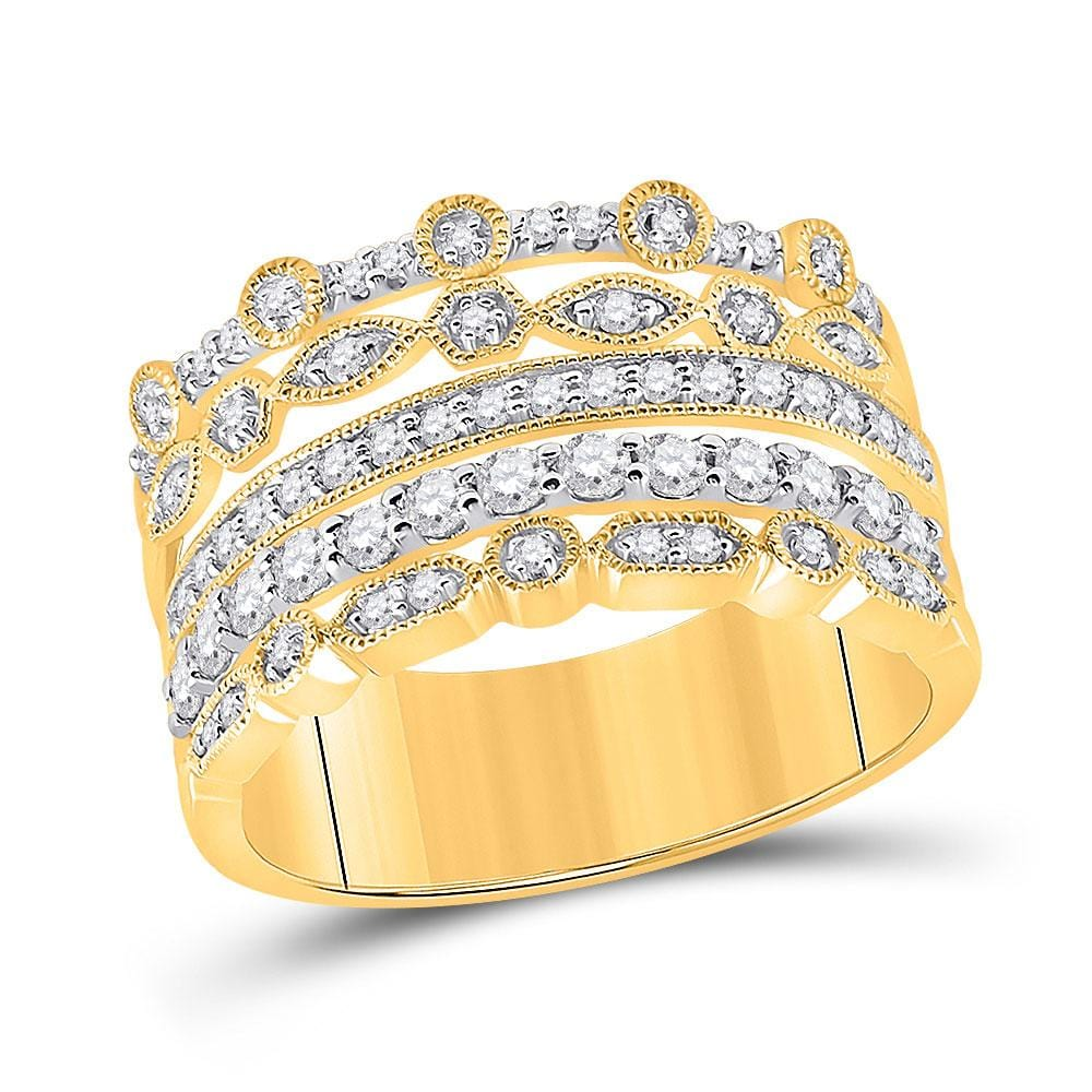 10kt Yellow Gold Womens Round Diamond Stacked Band Ring 1/2 Cttw