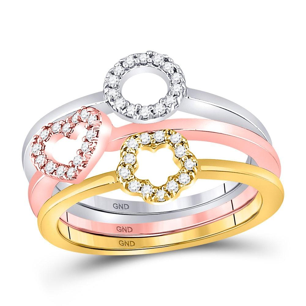 10kt Tri-Tone Gold Womens Round Diamond Circle Heart Star 3-Piece Stackable Ring Band Set 1/5 Cttw
