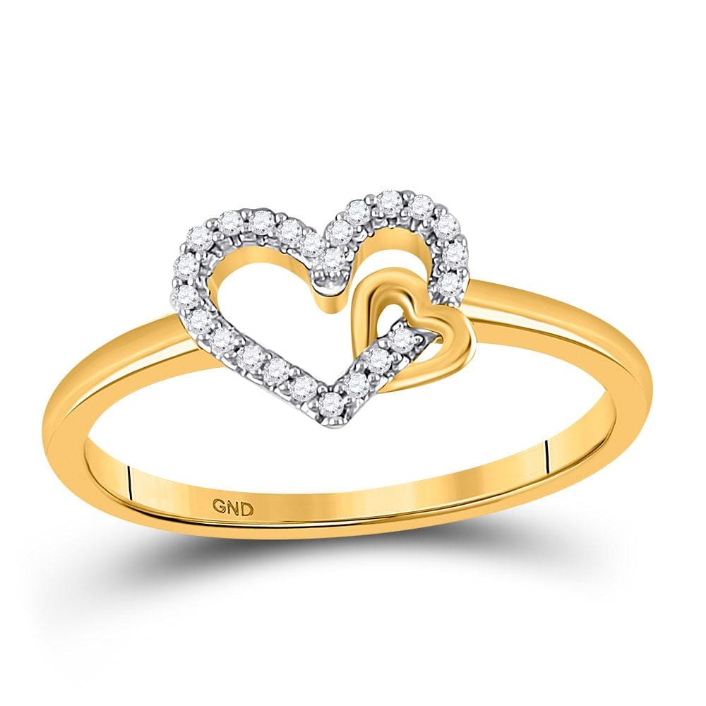 10kt Yellow Gold Womens Round Diamond Heart Ring 1/12 Cttw