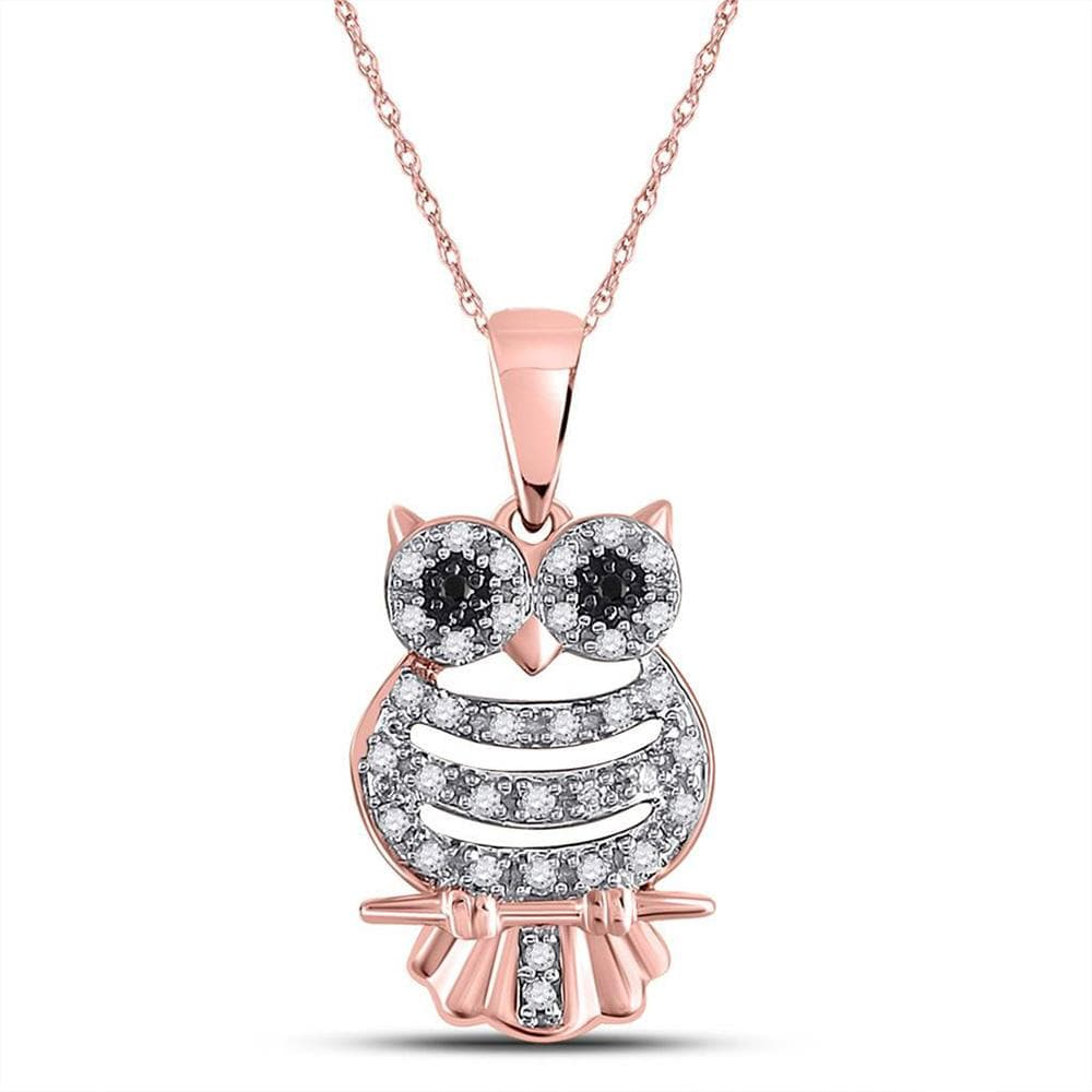 10kt Rose Gold Womens Round Black Color Enhanced Diamond Owl Animal Pendant 1/6 Cttw