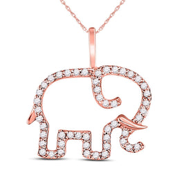 10kt Rose Gold Womens Round Diamond Elephant Animal Pendant 1/6 Cttw