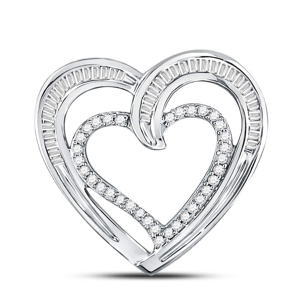 10kt White Gold Womens Round Diamond Heart Pendant 1/3 Cttw
