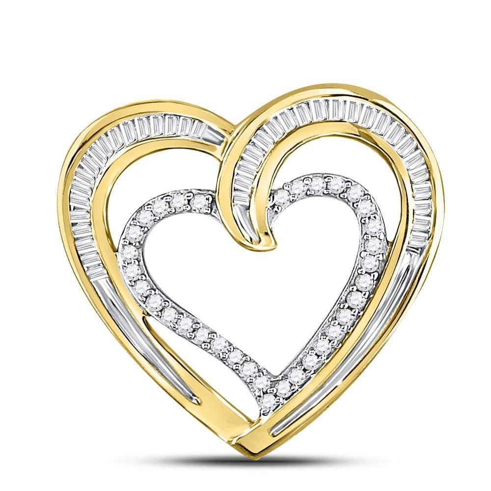 10kt Yellow Gold Womens Round Diamond Heart Pendant 1/3 Cttw