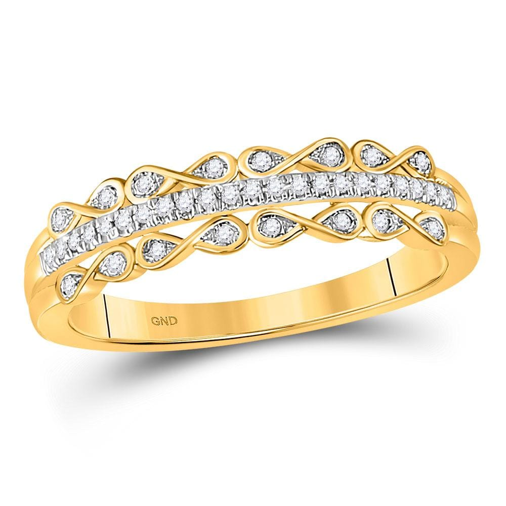 10kt Yellow Gold Womens Round Diamond Band Ring 1/10 Cttw