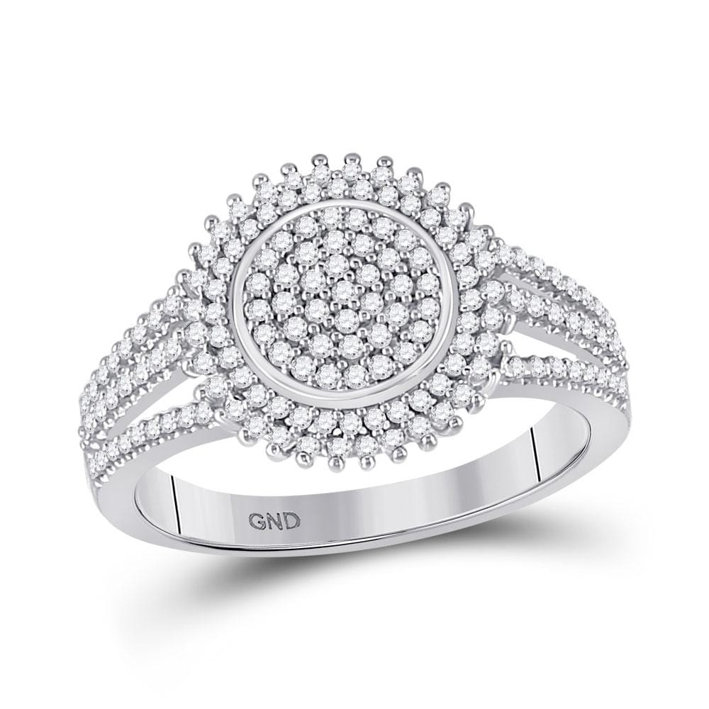 10kt White Gold Womens Round Diamond Circle Cluster Ring 1/4 Cttw