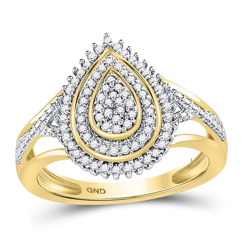 10kt Yellow Gold Womens Round Diamond Concentric Teardrop Cluster Ring 1/4 Cttw