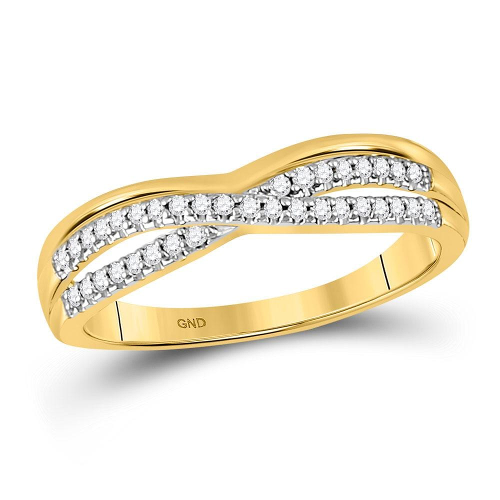10kt Yellow Gold Womens Round Diamond Twist Band Ring 1/6 Cttw