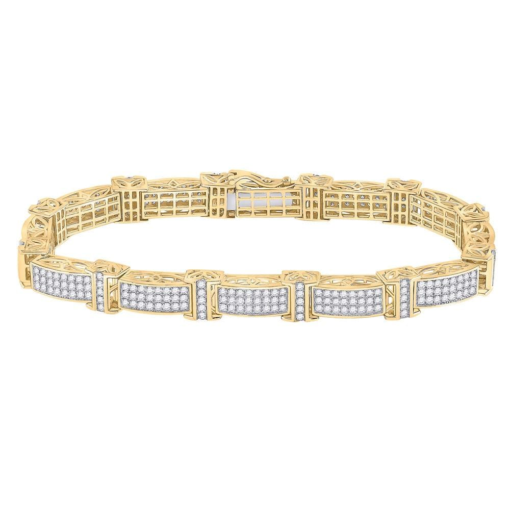 10kt Yellow Gold Mens Round Diamond Rectangle Link Bracelet 5-3/4 Cttw