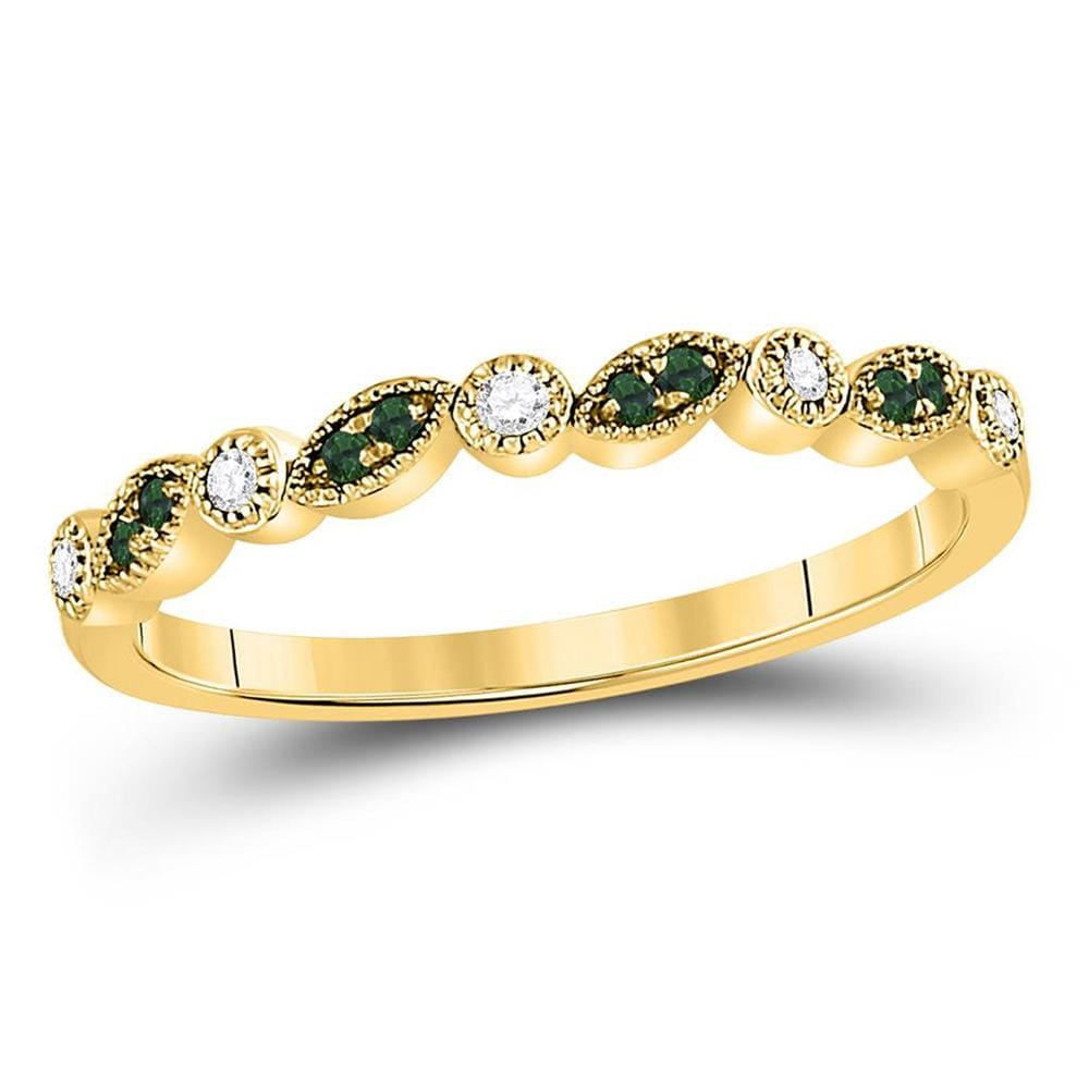 10kt Yellow Gold Womens Round Emerald Diamond Stackable Band Ring 1/10 Cttw