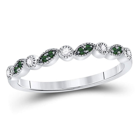 10kt White Gold Womens Round Emerald Diamond Milgrain Stackable Band Ring 1/10 Cttw
