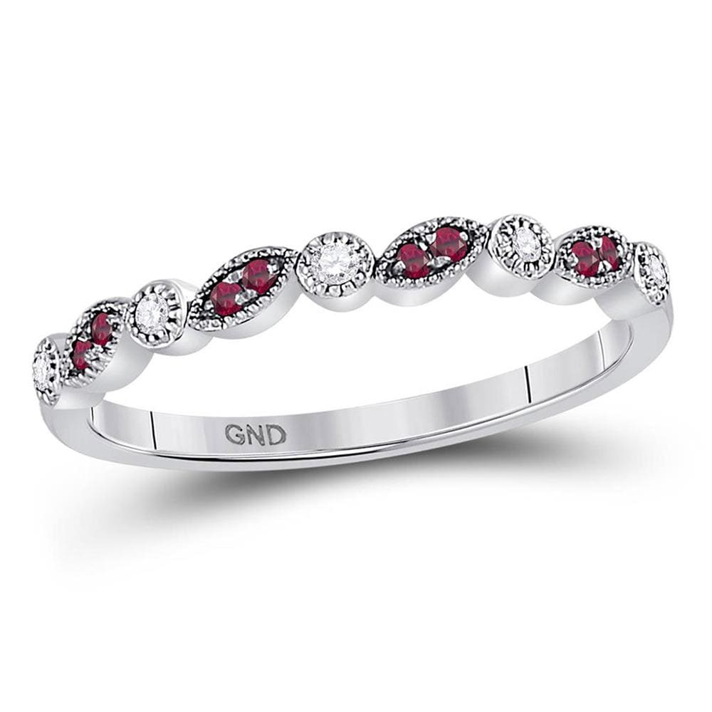 10kt White Gold Womens Round Ruby Diamond Stackable Band Ring 1/8 Cttw