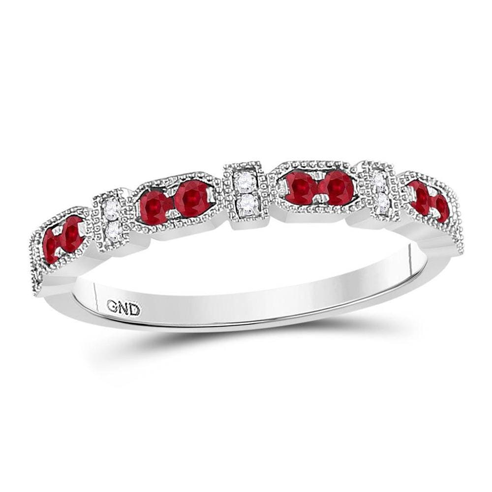 10kt White Gold Womens Round Ruby Diamond Stackable Band Ring 1/4 Cttw