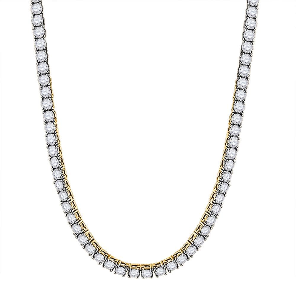 "10kt Yellow Gold Mens Round Diamond 26"" Tennis Chain Necklace 25-3/8 Cttw"