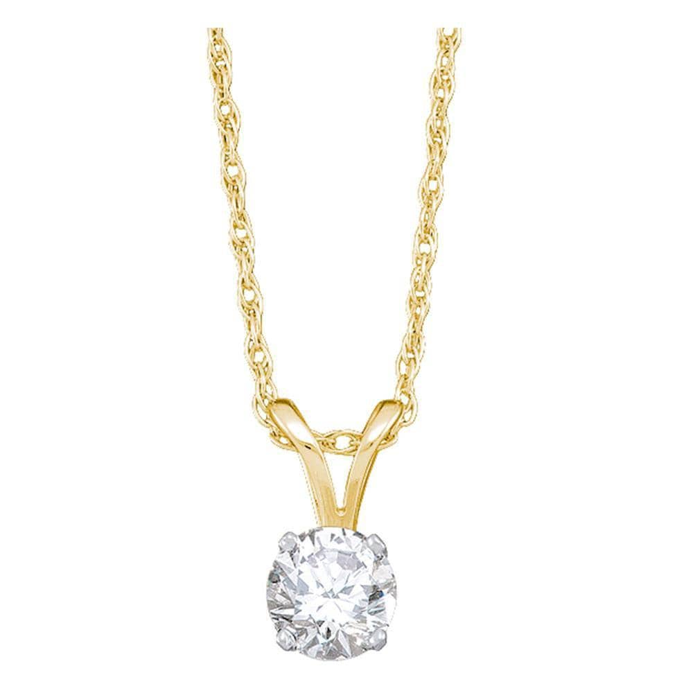 14kt Yellow Gold Womens Round Diamond Solitaire Pendant 1/5 Cttw