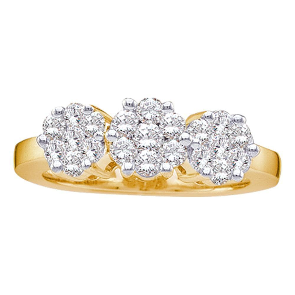 14kt Yellow Gold Womens Round Diamond Triple Flower Cluster Ring 1-1/2 Cttw