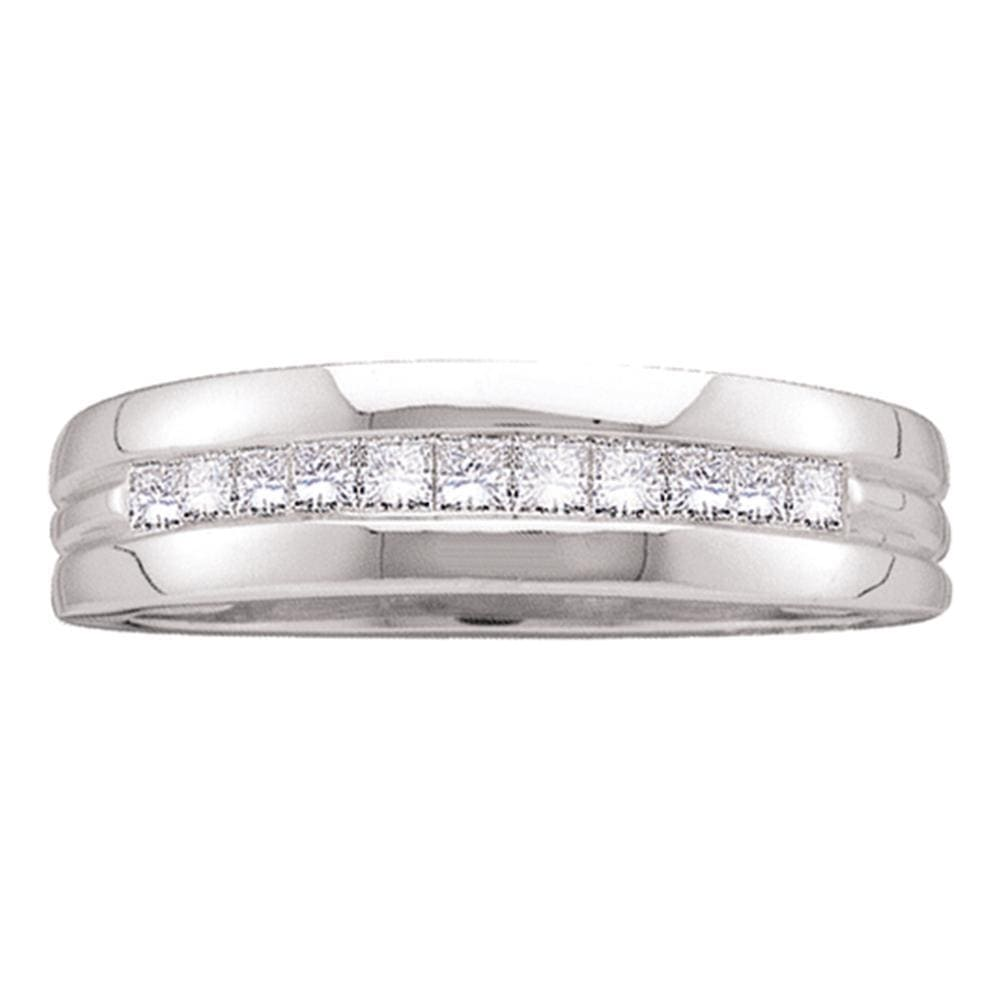 14kt White Gold Mens Princess Channel-set Diamond Single Row Wedding Band 1/2 Cttw