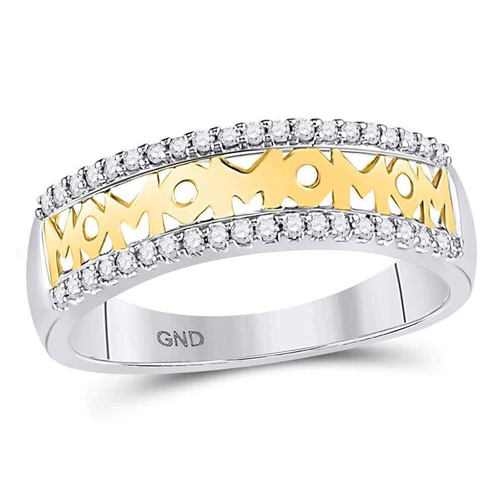 10kt Yellow Gold Womens Round Diamond Mom Mother Band Ring 1/6 Cttw
