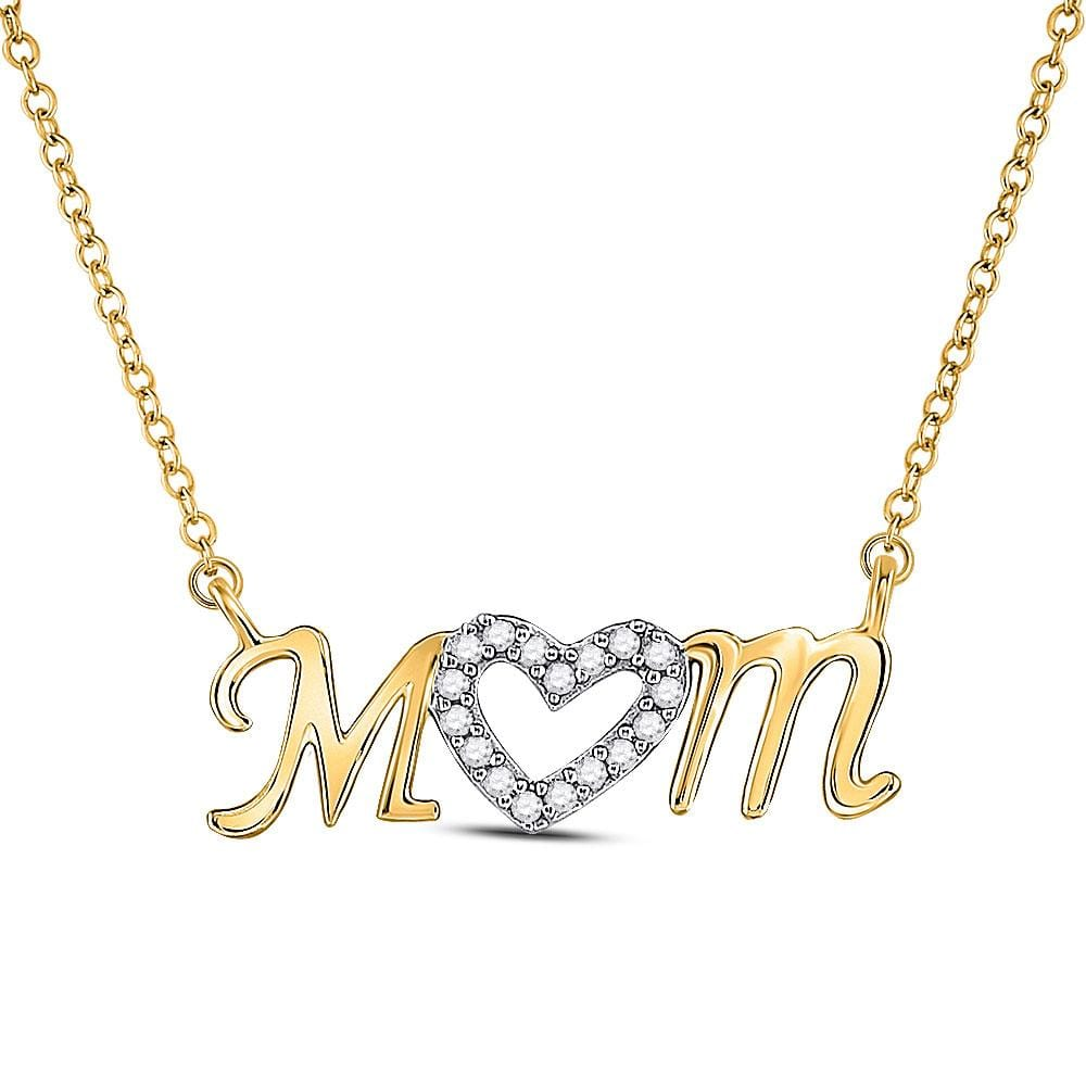 10kt Yellow Gold Womens Round Diamond Heart Mom Mother Necklace 1/10 Cttw