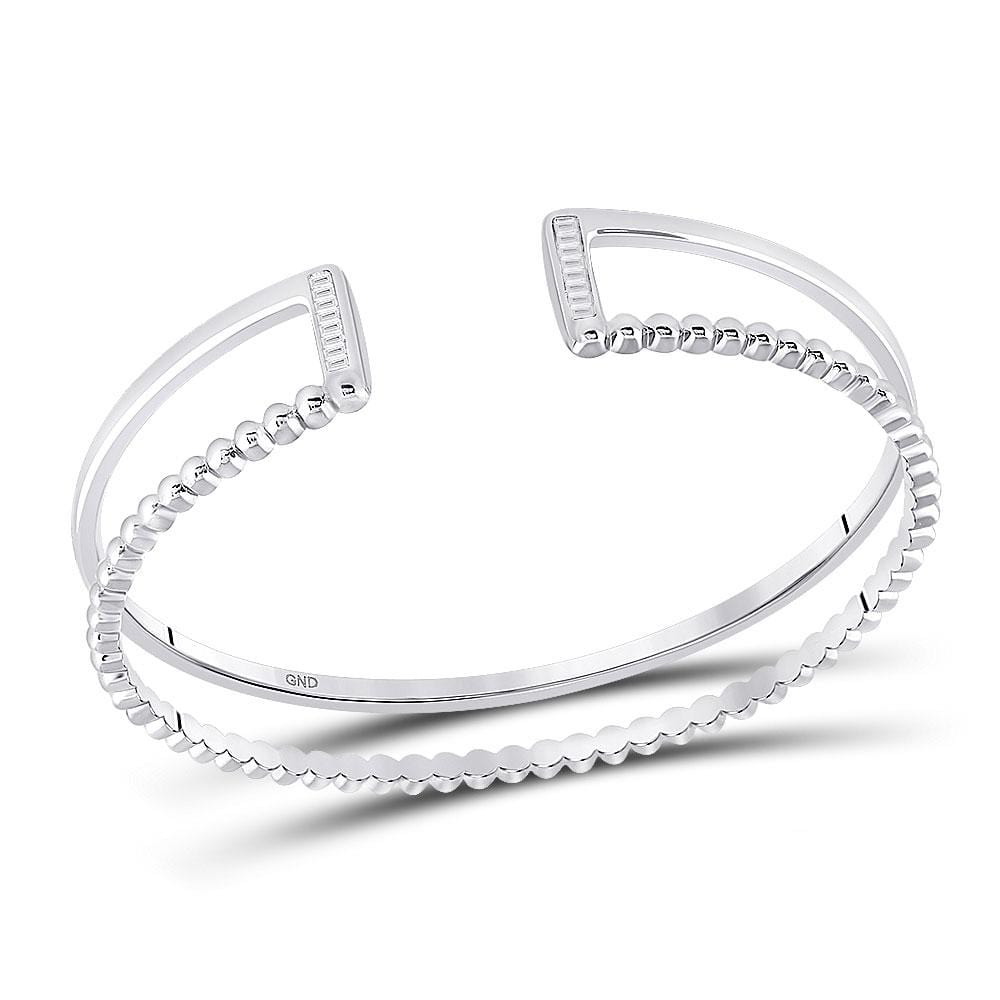 Sterling Silver Womens Baguette Diamond Bangle Bracelet 1/5 Cttw