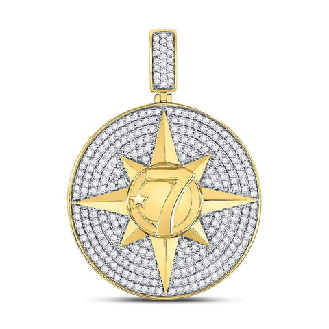 10kt Yellow Gold Mens Round Diamond Compass Rose Lucky 7 Charm Pendant 2-3/8 Cttw