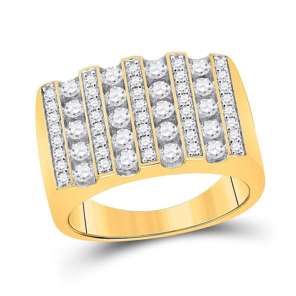10kt Yellow Gold Mens Round Diamond Lined Fashion Ring 1-1/2 Cttw