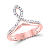 10kt Rose Gold Womens Round Diamond Fashion Ring 1/6 Cttw