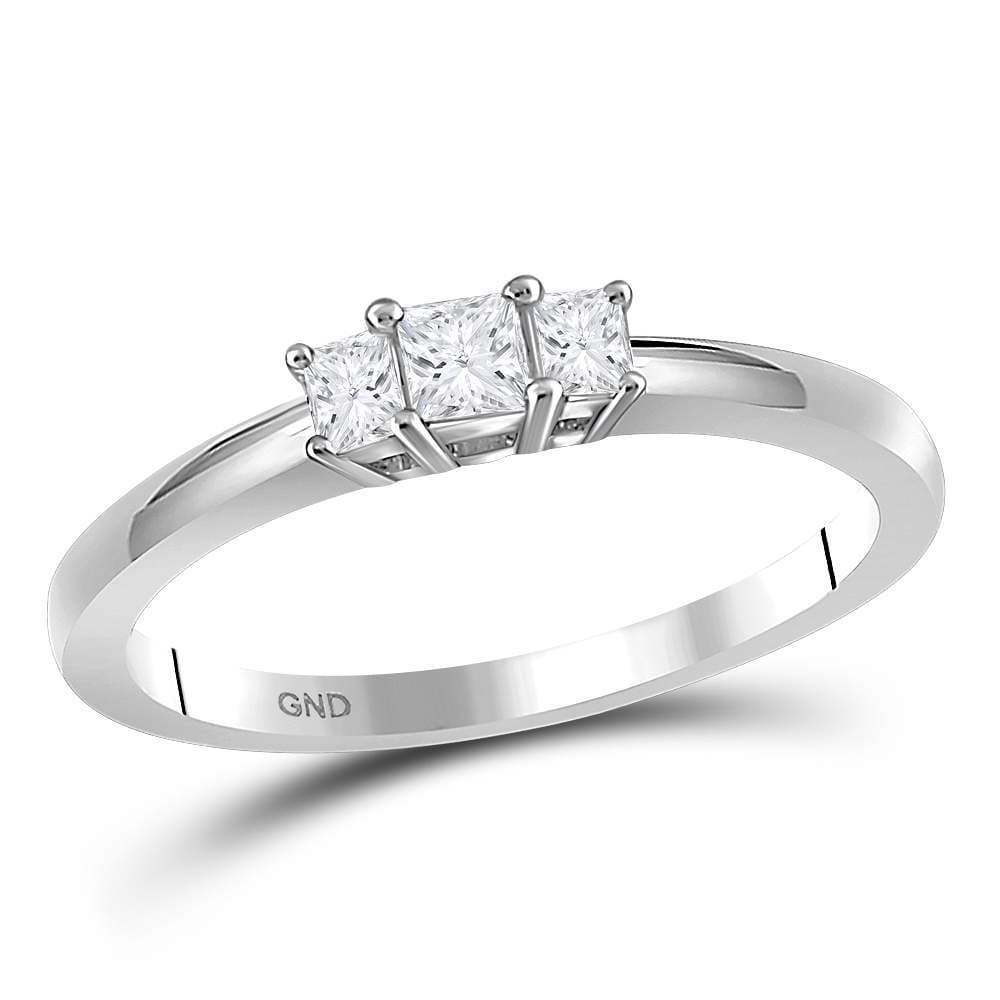 14kt White Gold Womens Princess Diamond 3-stone Certified Bridal Wedding Engagement Ring 1/4 Cttw