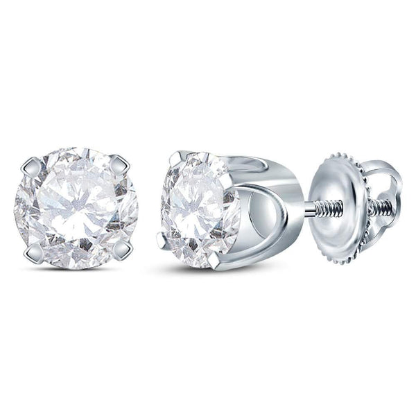 14kt White Gold Unisex Round Diamond Solitaire Stud Earrings 1.00 Cttw