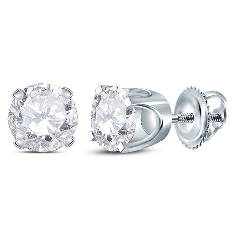 14kt White Gold Womens Round Diamond Solitaire Earrings 1 Cttw