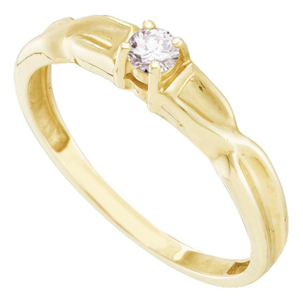 10kt Yellow Gold Womens Round Diamond Solitaire Promise Bridal Ring 1/10 Cttw