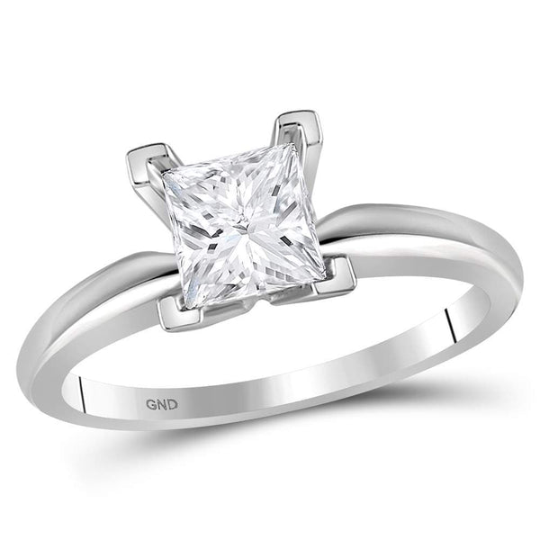 14kt White Gold Womens Princess Diamond Solitaire Certified Bridal Wedding Engagement Ring 1.00 Cttw