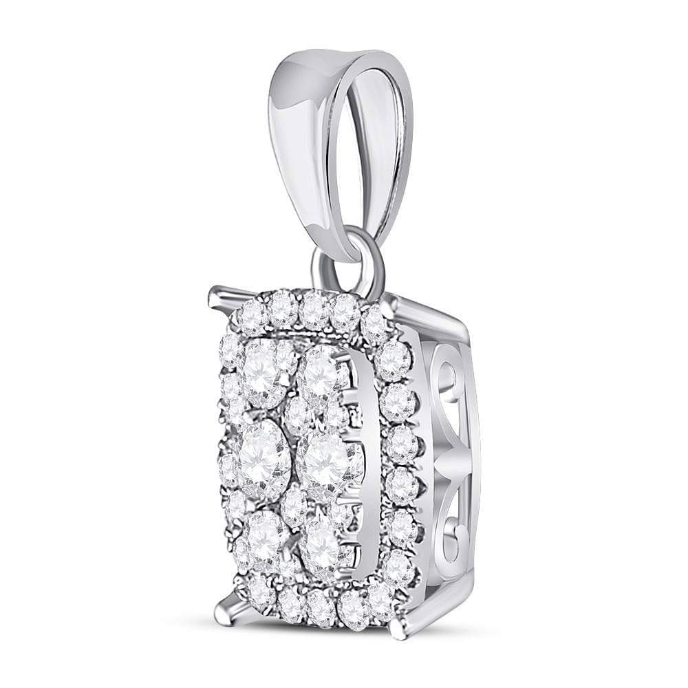 14kt White Gold Womens Round Diamond Vertical Rectangle Cluster Pendant 1/4 Cttw