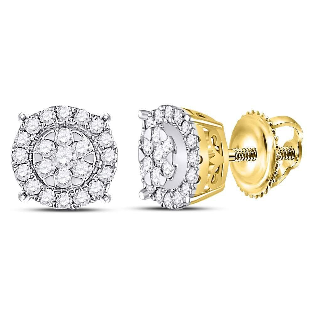 14kt Yellow Gold Womens Round Diamond Circle Cluster Earrings 1/4 Cttw