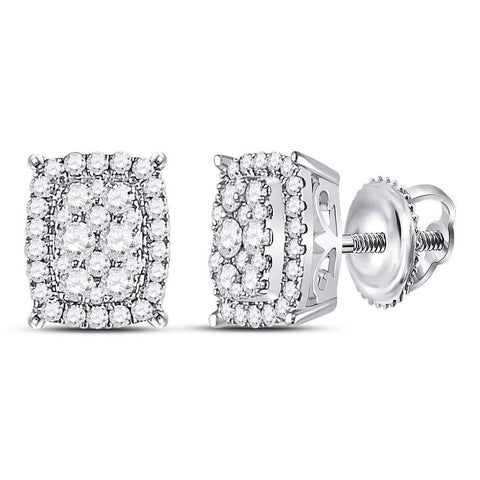 14kt White Gold Womens Round Diamond Rectangle Cluster Stud Earrings 1/2 Cttw