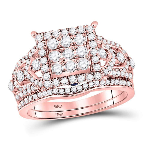 14kt Rose Gold Womens Round Diamond Vintage-inspired Bridal Wedding Engagement Ring Band Set 1-1/6 Cttw