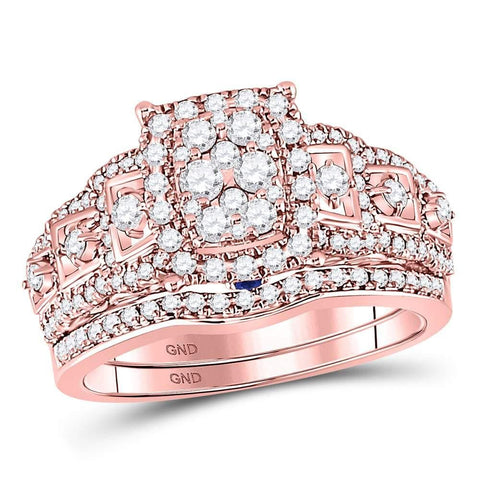 14kt Rose Gold Womens Round Diamond Vintage-inspired Bridal Wedding Engagement Ring Band Set 1-1/10 Cttw
