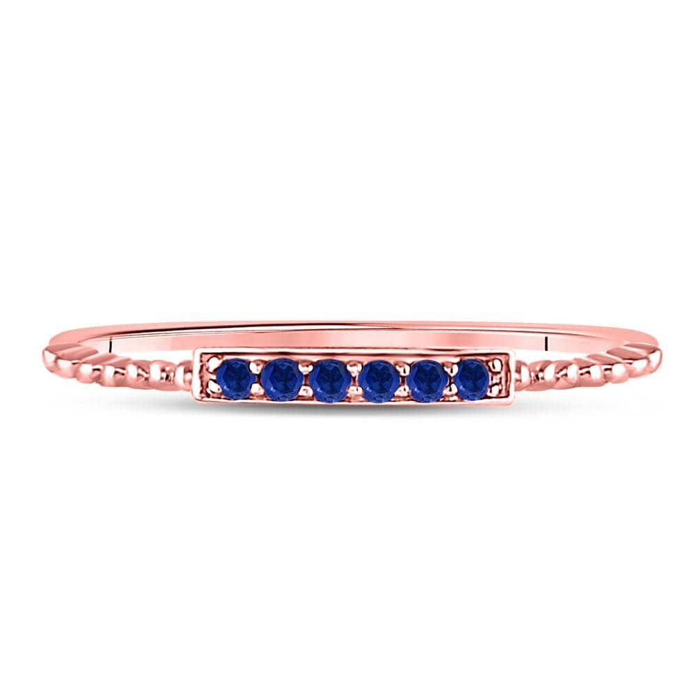 10kt Rose Gold Womens Round Blue Sapphire Beaded Stackable Band Ring 1/20 Cttw