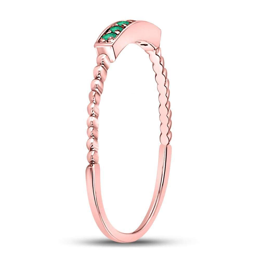 10kt Rose Gold Womens Round Emerald Stackable Band Ring 1/20 Cttw