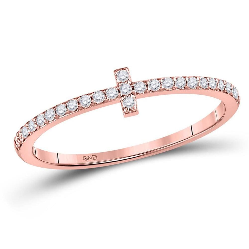 10kt Rose Gold Womens Round Diamond Cross Stackable Band Ring 1/6 Cttw