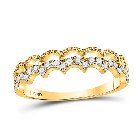 10kt Yellow Gold Womens Round Diamond Scalloped Stackable Band Ring 1/4 Cttw