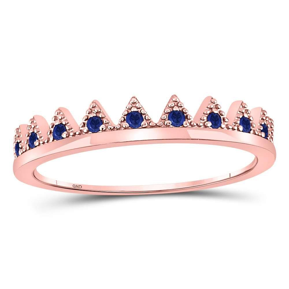 10kt Rose Gold Womens Round Blue Sapphire Chevron Stackable Band Ring 1/10 Cttw