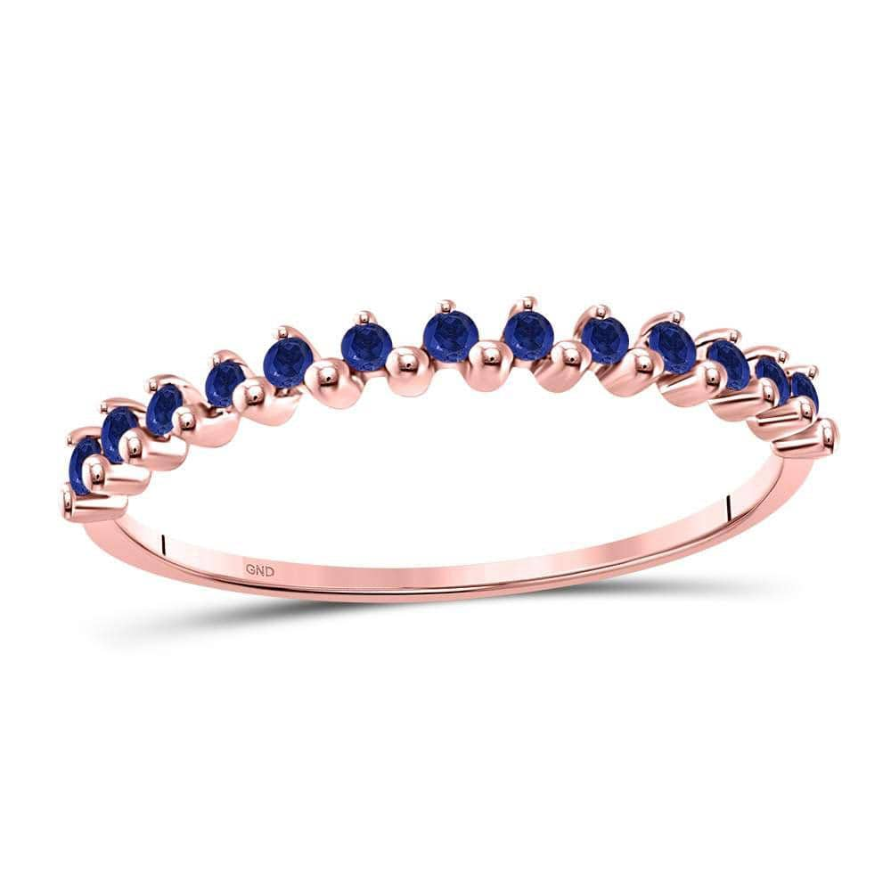 10kt Rose Gold Womens Round Blue Sapphire Single Row Stackable Band Ring 1/8 Cttw