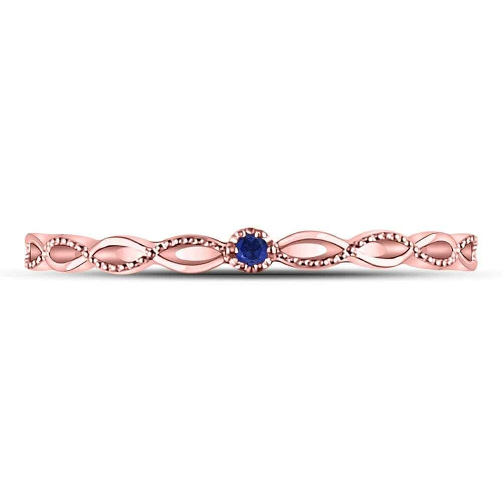 10kt Rose Gold Womens Round Blue Sapphire Milgrain Stackable Band Ring .01 Cttw