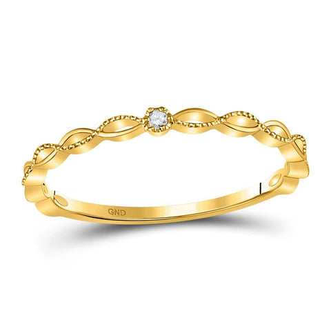 10kt Yellow Gold Womens Round Diamond Stackable Band Ring .01 Cttw