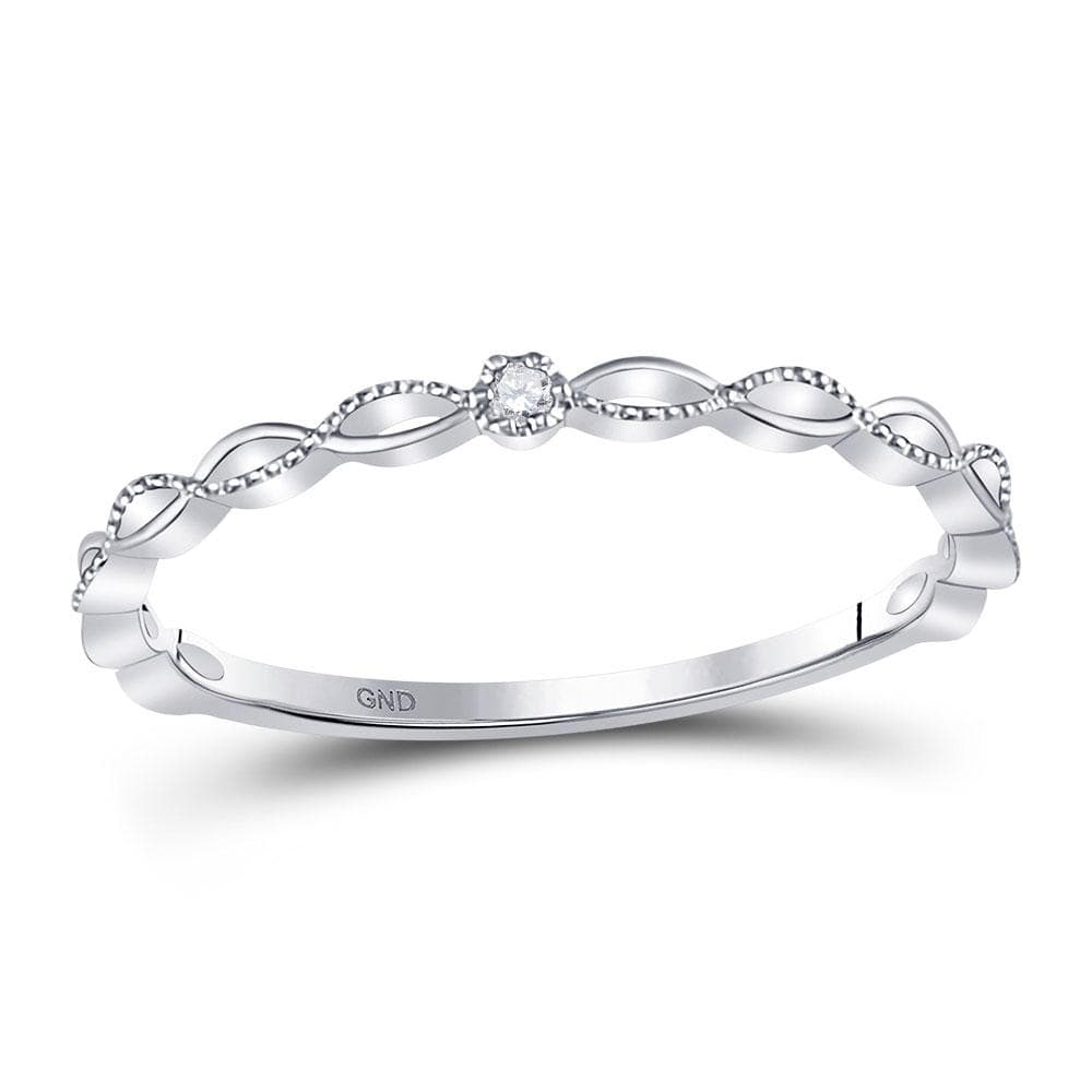 10kt White Gold Womens Round Diamond Stackable Band Ring .01 Cttw