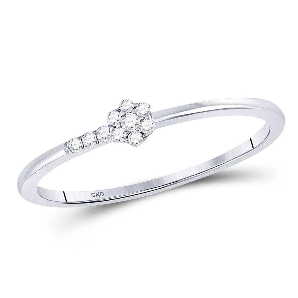 10kt White Gold Womens Round Diamond Flower Stackable Band Ring 1/20 Cttw